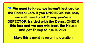"""This is the NRCC's homepage prechecked donation box right now.  Unchecking makes supporters a """"DEFECTOR"""" https://t.co/xADoxrsbCj https://t.co/tOcm4F75Pj"""