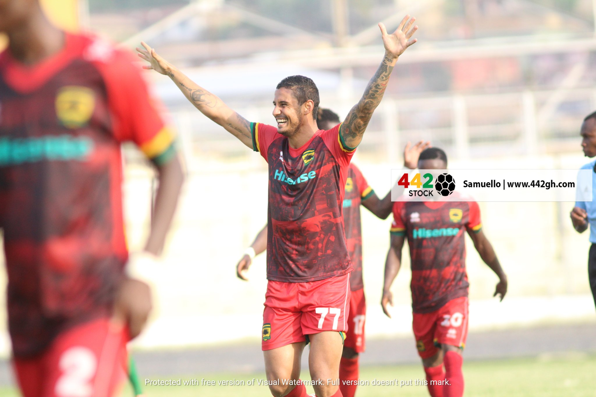 EyYqx BXIAMXKil?format=jpg&name=large - PHOTOS: Brazilian Striker Michael Vinicius Scores First Asante Kotoko goal On His Debut game against Bechem United