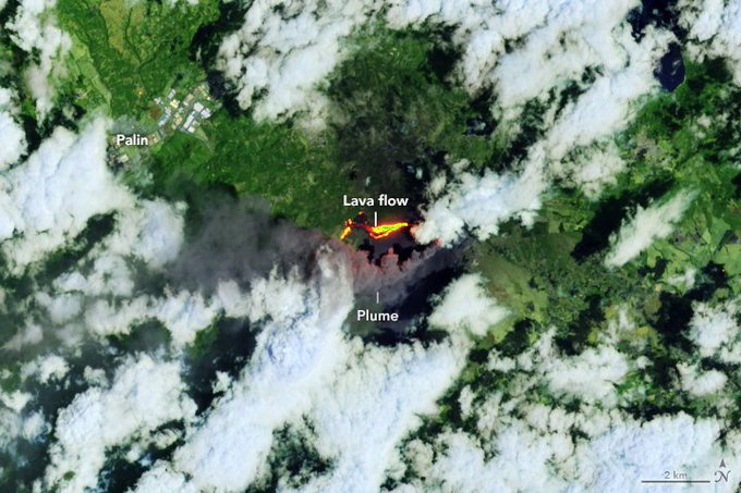 On March 29, 2021, the Operational Land Imager (OLI) on the Landsat 8 satellite acquired data for this false-color image of the eruption. The image combines shortwave infrared and red light (OLI bands 7-6-4) to better distinguish the heat signature of volcanic lava amid the vegetation and clouds.