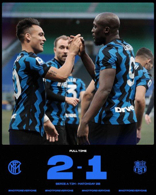 Skor akhir Inter Milan 2-1 Sassuolo