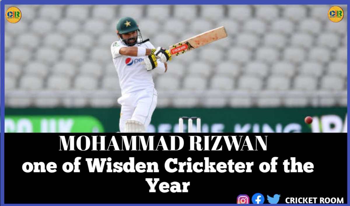 Mohammad Rizwan was named among Dom Sibley, Zak Crawley, Jason Holder and Darren Stevens who have been named Wisden Cricketers of the Year in the 2021