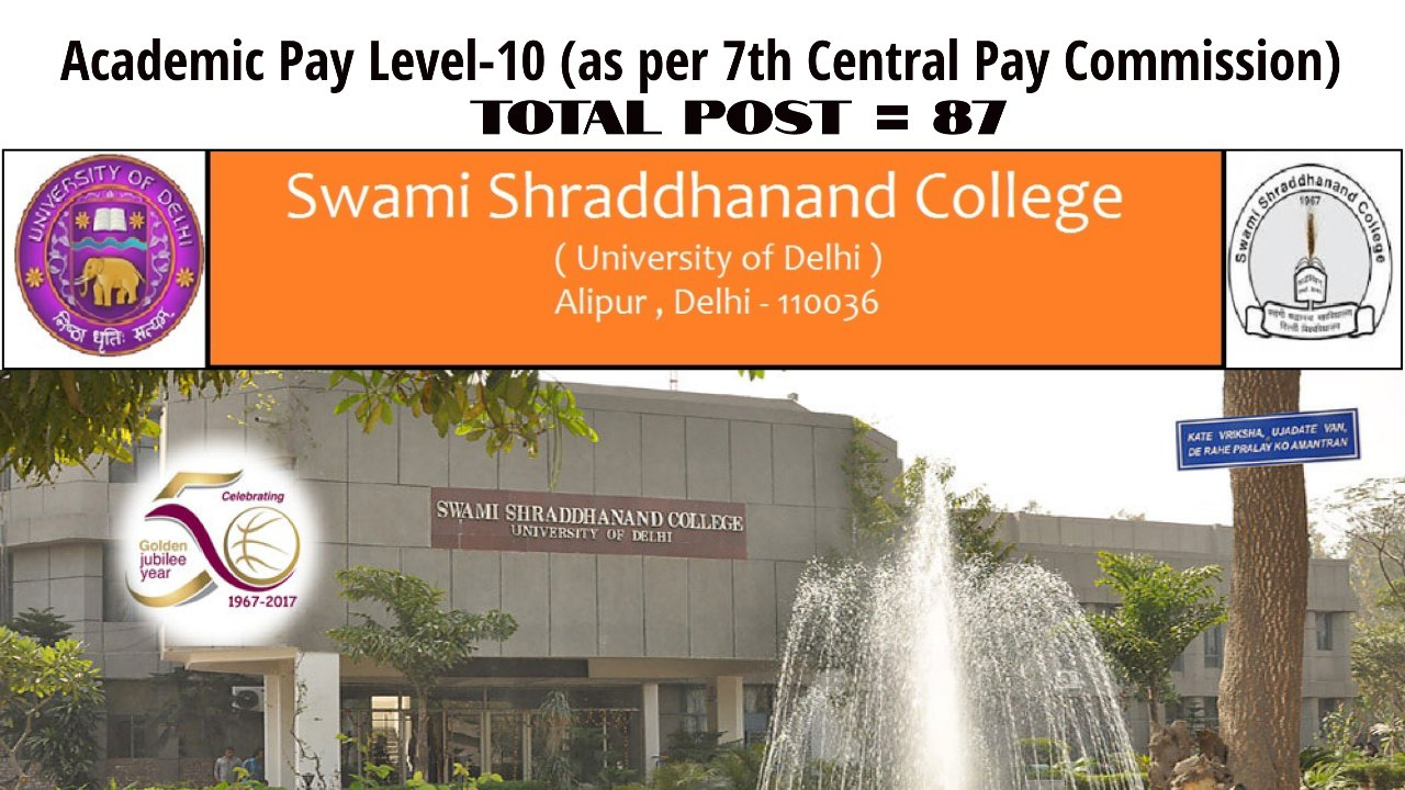 Faculty Position at University of Delhi, Swami Shraddhanand College, India | Academic Pay Level-10