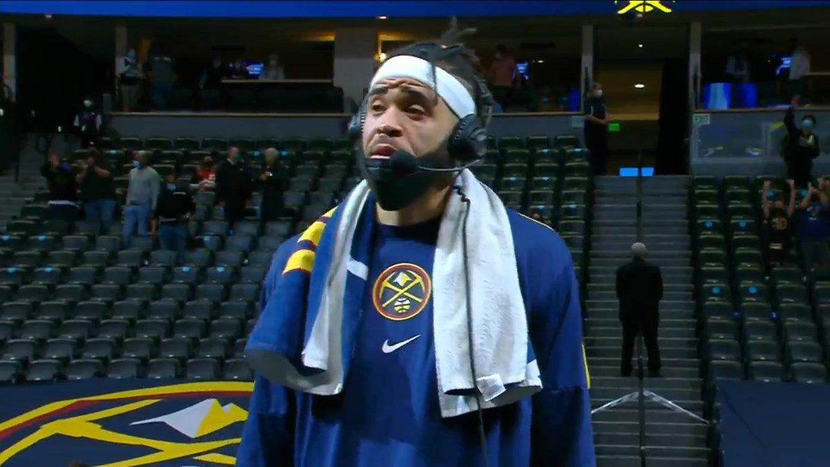 What a performance from @JaValeMcGee tonight and he expressed how much he loved playing in front of a @nuggets crowd again!  @ScottHastings spoke with him after Denver beat the @spurs 106-96.   #MileHighBasketball https://t.co/O10DFFZQVy