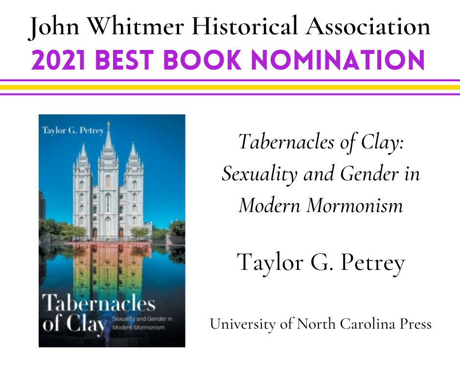 "There is some tough competition, but I'm honored to be nominated for ""Best Book"" for #TabernaclesOfClay from @UNC_Press @UNCPressAwards @elainemaisner https://t.co/YvLIfcOga1"