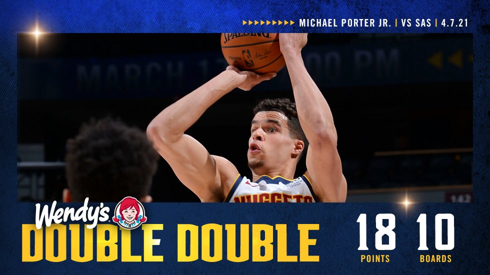 4⃣ double-doubles in the last six games for MPJ!  ➡️ https://t.co/2neRE8qIZi  #MileHighBasketball https://t.co/rCzWNczvFc
