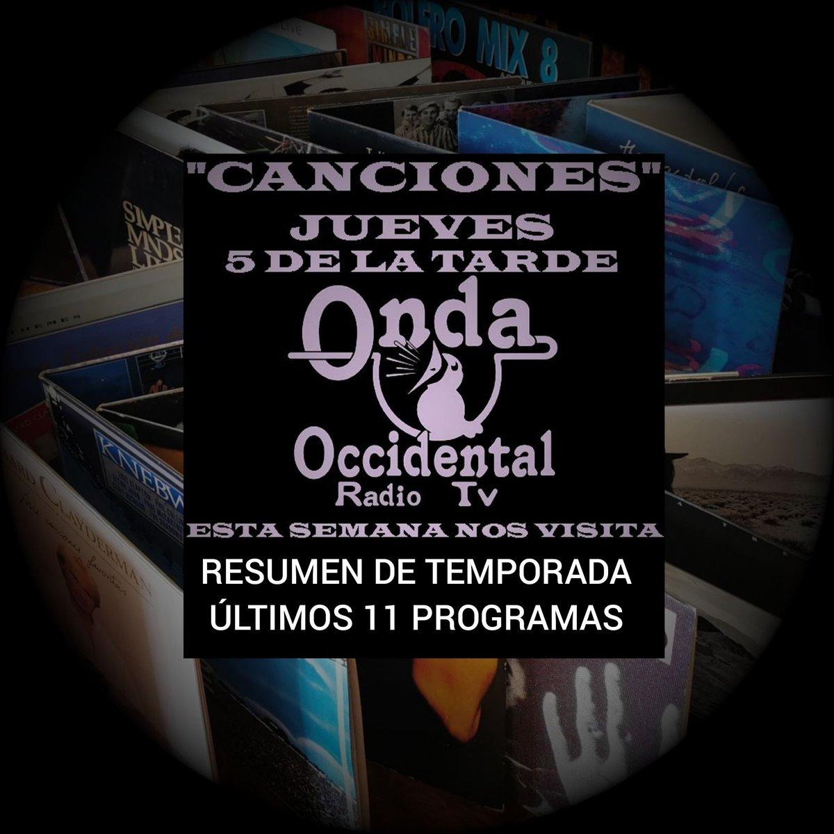 Despedimos temporada con CANCIONES. A las 17:00 horas @Riveroontoria se cita un jueves más con vosotros, acompañado de buena música