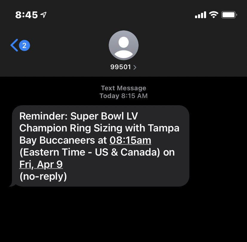 That good morning text 😎 #SBLV #GoBucs 💍
