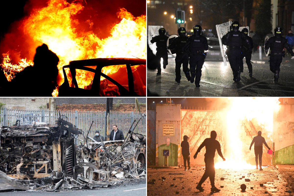 Bus torched, 55 cops injured on fourth night of Northern Ireland protests Photo