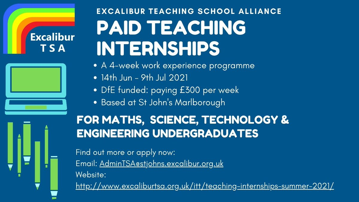 We're looking for summer interns- apply now! 4-week paid internship at St John's Marlborough for current STEM undergraduates. DfE funded. https://t.co/pd9rBIWzVA Email us: AdminTSA@stjohns.excalibur.org.uk with your questions or to request an application form.  @StJohnsMarlb