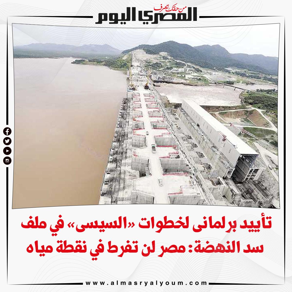 تأييد برلمانى لخطوات « السيسى» في ملف سد النهضة مصر لن تفرط في نقطة مياه
