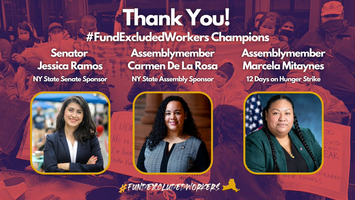 The historic $2.1 Billion in relief was made possible by the combined statewide efforts of elected officials who fought tirelessly to #FundExcludedWorkers. To Senate sponsor Sen. @jessicaramos, to Assembly sponsor AM @CnDelarosa, and to AM @marcelaforny: THANK YOU! (1/5)