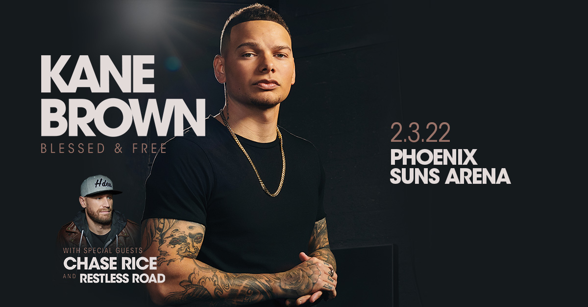 JUST ANNOUNCED: Country-pop superstar @KaneBrown is coming to rock Phoenix Suns Arena on February 3, 2022 with @ChaseRiceMusic + @RestlessRoad. Tickets go on sale next Friday 4/16 at 10AM, see you there!   For more info: https://t.co/PccoqRZmDR https://t.co/eqmAPHOJdh