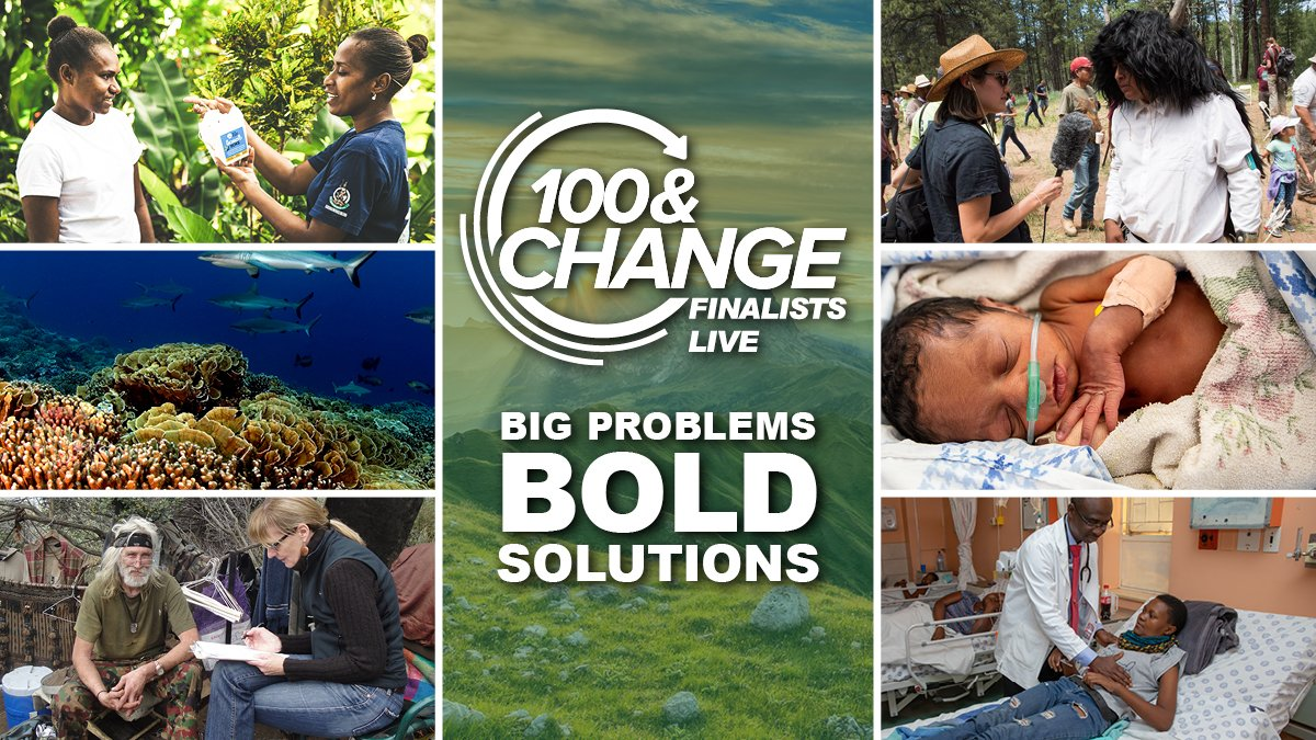 This week we announced the $100 million recipient in #100andChange, a special shoutout to the five runners up:   @CHAI_health and @MCRI_for_kids 🫁 @NG_PristineSeas 🌊 @ProjectECHO 🩺 @Report4America 📰 @WMPglobal 🦟  Their full presentations here: https://t.co/QwLTLTbjlV https://t.co/bFACGnRuOq