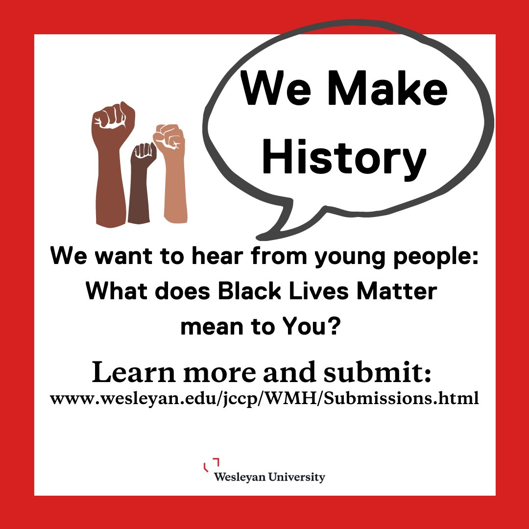 test Twitter Media - We Make History wants to hear from young people!   What's one way that young people are being impacted that no one's talking about? Learn more and submit here: https://t.co/CnnZP8tdr2  #WeMakeHistoryWes #WesArchives #WesEngage  @wesleyan_u @Wesleyan_Lib https://t.co/ES5VamzkC8