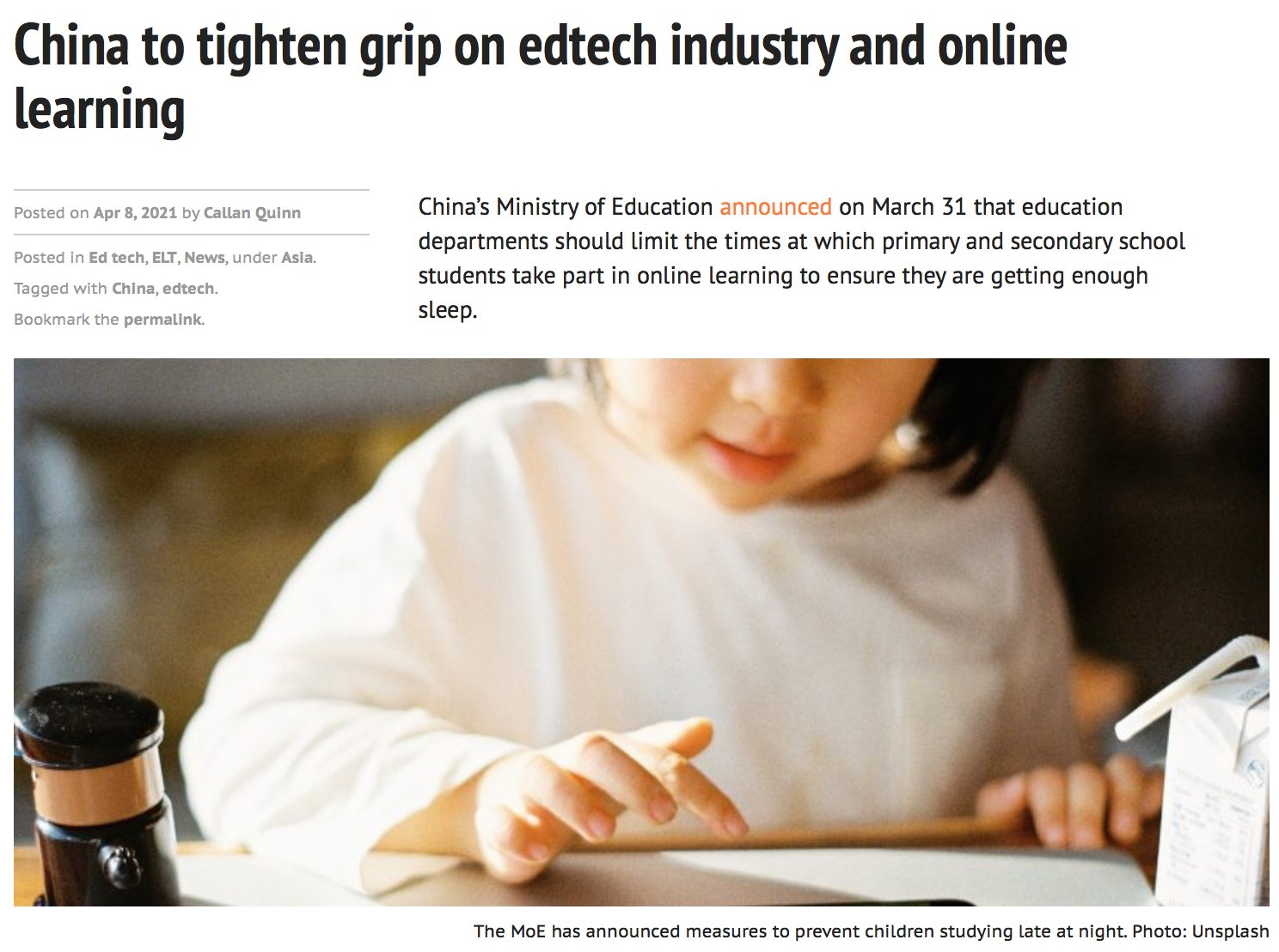 China to tighten grip on edtech industry and online learning Photo