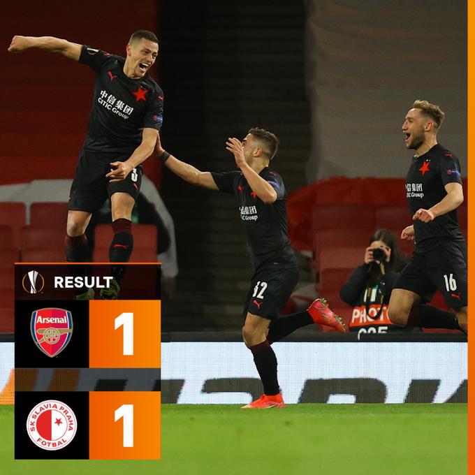 Skor akhir Arsenal 1-1 Slavia Praha