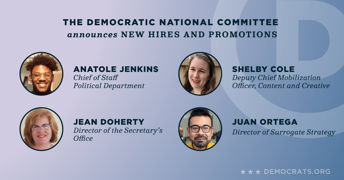 Excited to announce the newest additions and promotions to our leadership team as we continue to strengthen and grow our party: @AnatoleJenkins, @shelbylcole, @JuanoBano, and Jean Doherty. https://t.co/oVRJ3q8Q2T