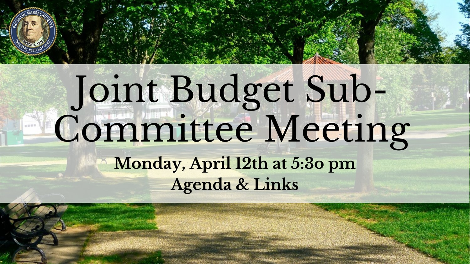Town of Franklin, MA: Joint Budget SubCommittee Mtg - Apr 12, 2021