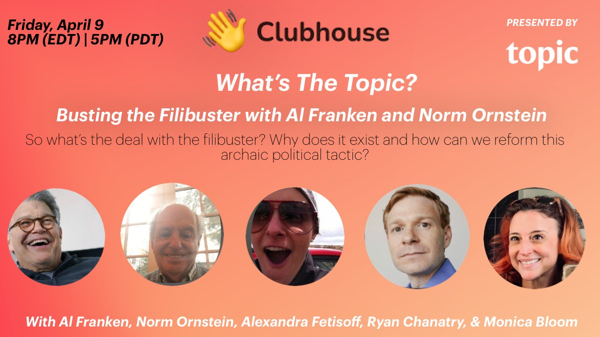 .@NormOrnstein and I have a nifty modification for the #filibuster THAT JUST MIGHT WORK! Please join us and @topicstories on Clubhouse on Friday, April 9 at 8pm ET/5pm PT.