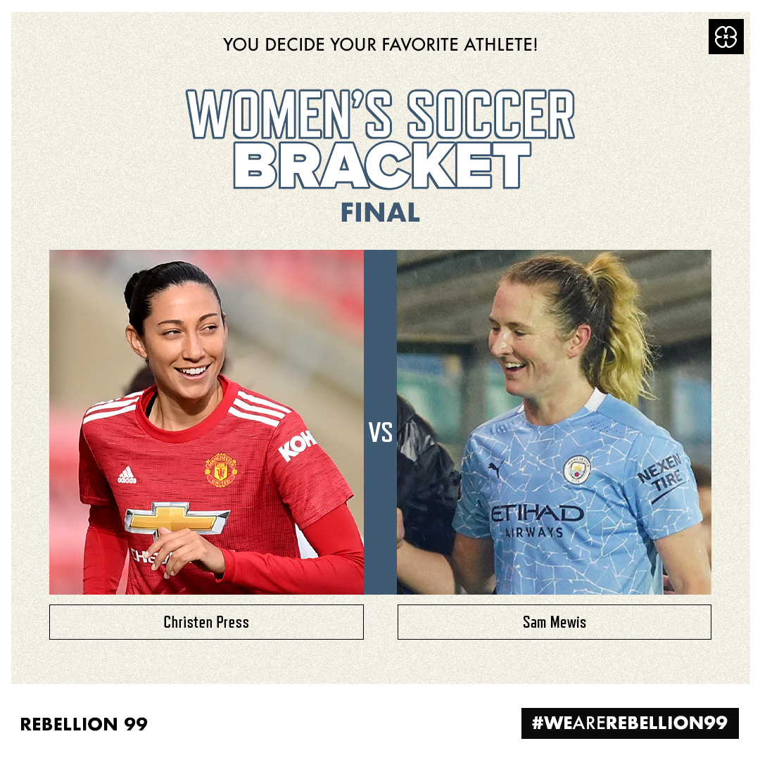Our #WoSo Bracket Final is set and it's a #ManchesterDerby!   Make your pick on our IG story to crown our first player tournament champion! 👑  @ChristenPress 🆚 @sammymewy   #WeAreRebellion99 https://t.co/kJ35Uxwtsn