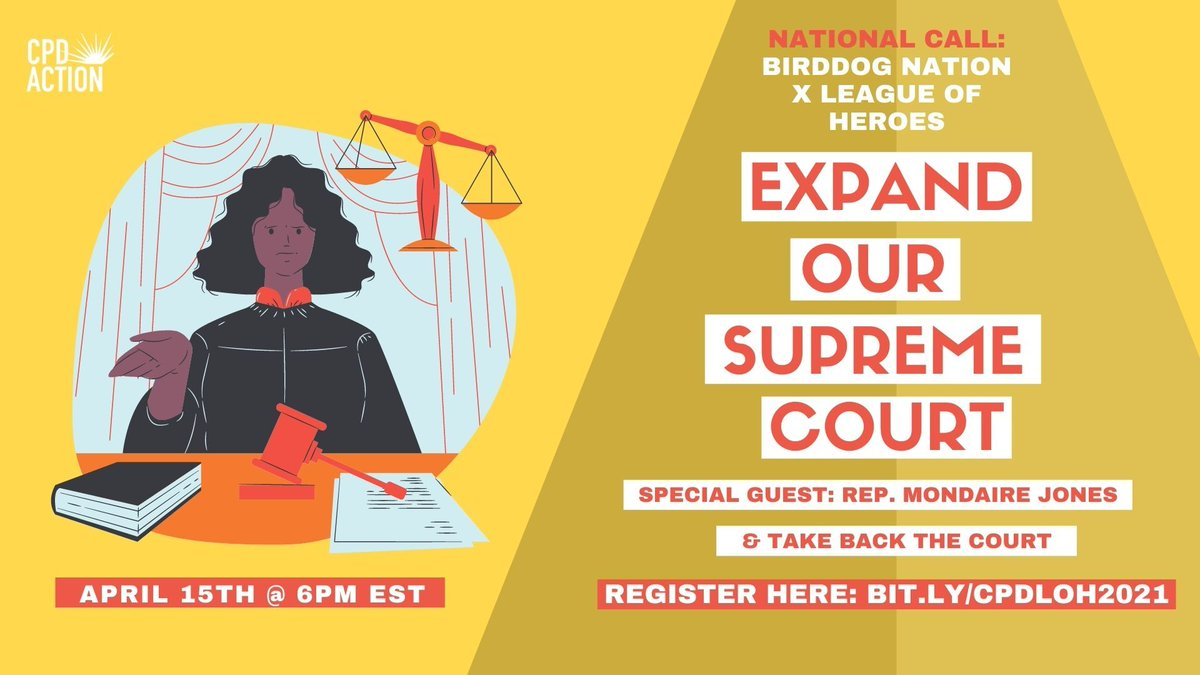 Very excited about this lineup!  @CPDAction's co-ED @AnaMariaArchil2 is hosting.  + @RepMondaire (!!) @AaronBelkin director, @TakeBacktheCt  + Organizers from @CPD's healthcare, climate, democracy, + immigration campaigns will share what expanding the court would for their fights https://t.co/WgdQmf0Sgw