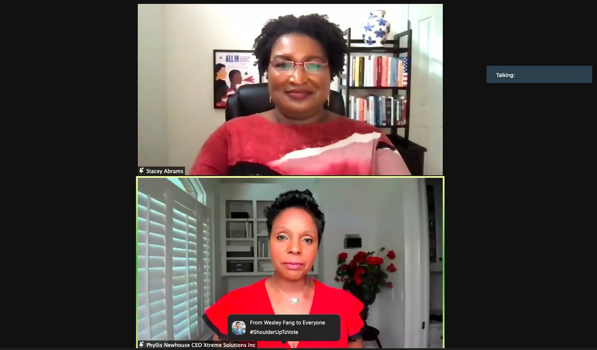"""For so many of us, even if we come from places of want, we have achieved places of privilege,"" Stacey Abrams told a group of female entrepreneurs in an invitation-only Zoom call about voting rights tonight. My report, here: forbes.com/sites/maggiemc…"