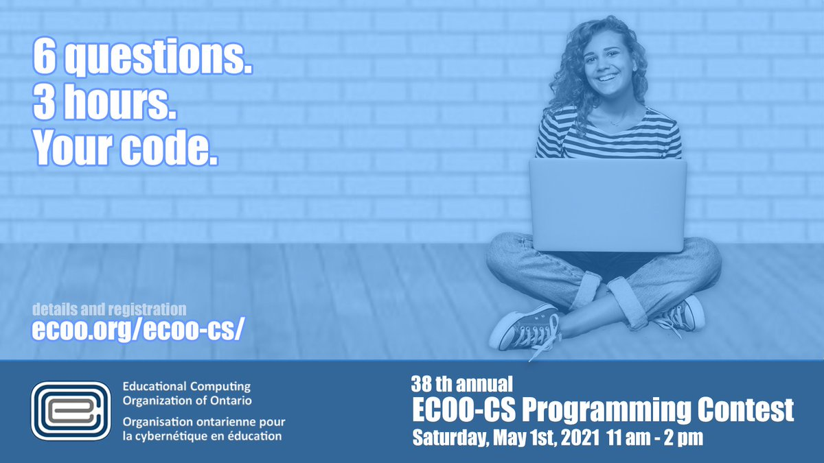 Secondary students and teachers in Computer Science! The 2021 ECOO Programming Contest will take place online on Saturday, May 1st from 11am-2pm. Put the date on your calendar, and register by April 14th! @osstf @acseontario #ECOO_ProgrammingContest  https://t.co/MYazwckiWd