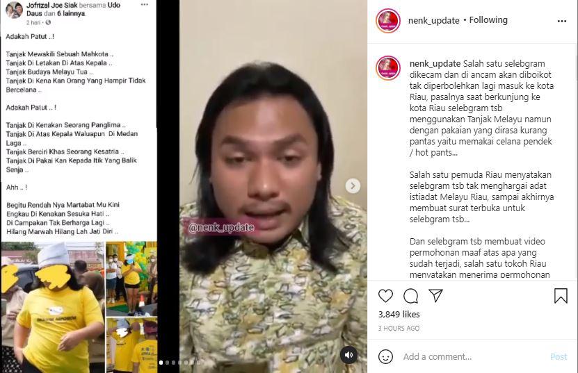 Dinilai menyinggung budaya Melayu, selebgram Keanu Agl meminta maaf kepada publik, khusunya masyarakat Melayu Riau.