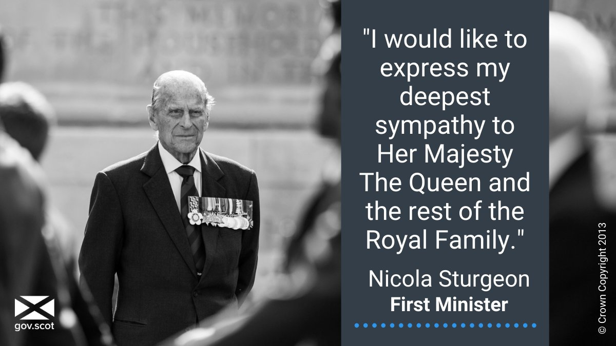 First Minister Nicola Sturgeon has shared her condolences with Her Majesty the Queen and the Royal Family, following the death of His Royal Highness, Prince Philip, the Duke of Edinburgh. Read more ➡ bit.ly/SGHRHDukeofEdi…