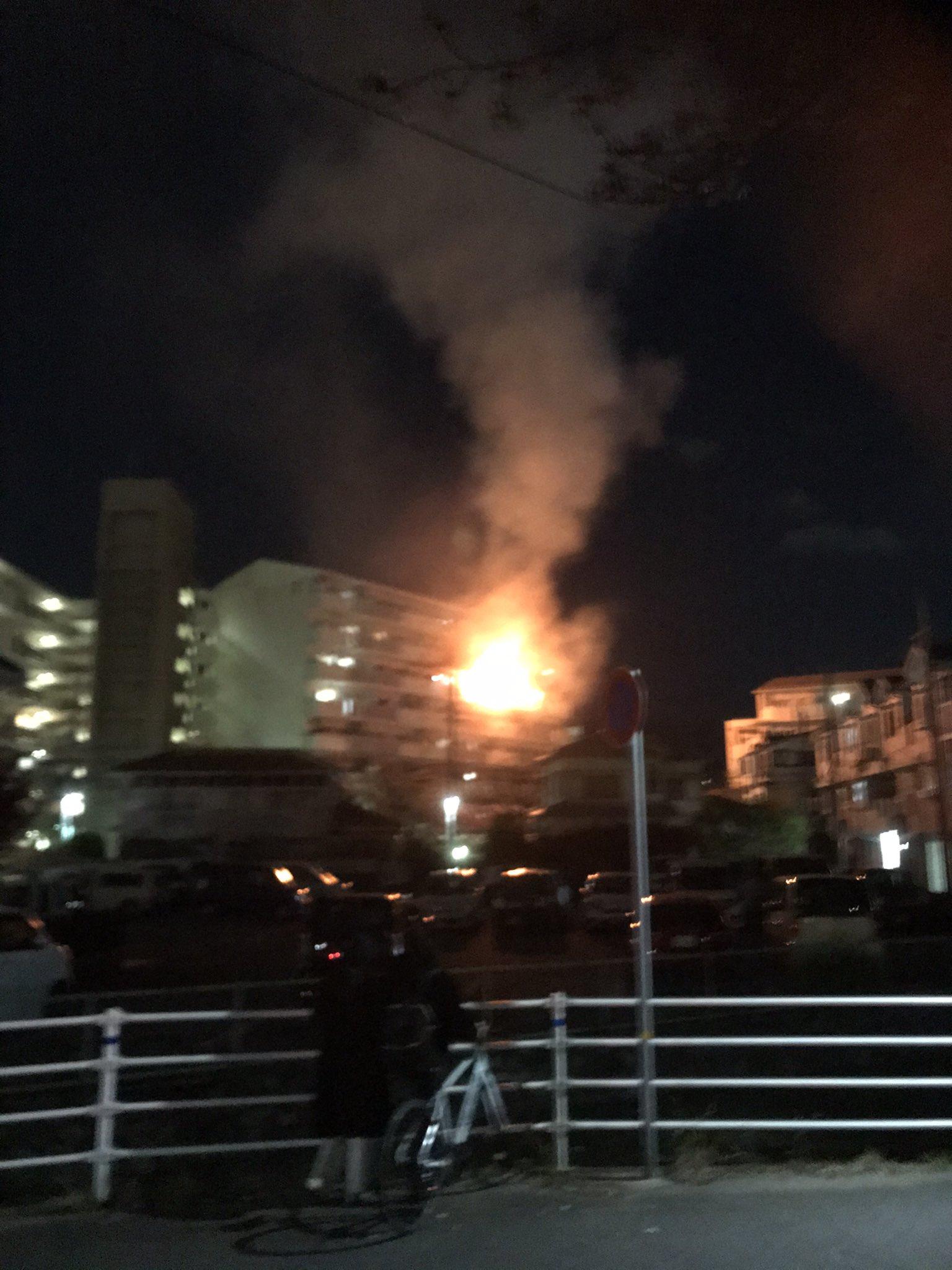 宝塚市泉町の火事の現場の画像