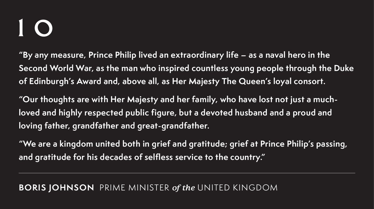 Prime Minister @BorisJohnson on the death of HRH The Prince Philip, Duke of Edinburgh. https://t.co/MeYm9vxwxg