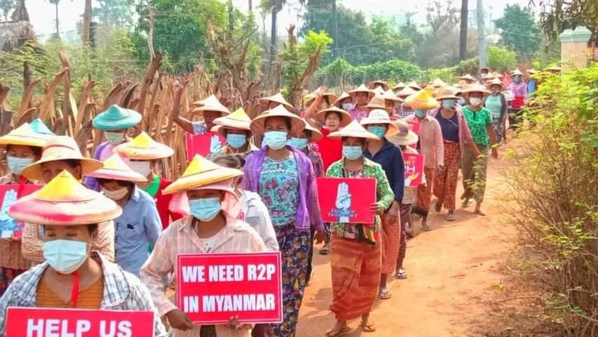 Rural residents of Salingyi Township, Sagaing Region took to the streets against the military dictatorship on Apr. 9. (Photo: CJ) #WhatsHappeningInMyanmar https://t.co/BKxEbBs2Yx