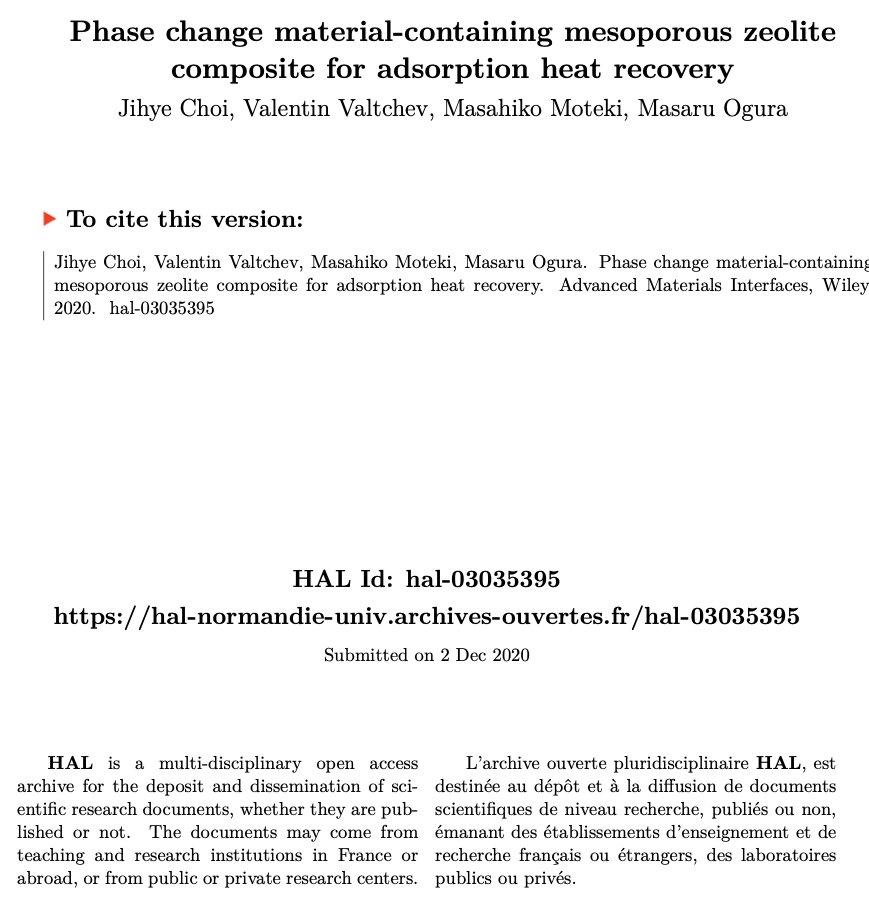 🧪#OpenAccess: Phase change material-containing mesoporous zeolite composite for adsorption heat recovery  ▶️https://t.co/7Zonj0guav @INC_CNRS @ENSICAEN  @Universite_Caen @Reseau_Carnot @Carnot_ESP  @CNRS @CNRS_Normandie @normandieuniv @HALnormandie