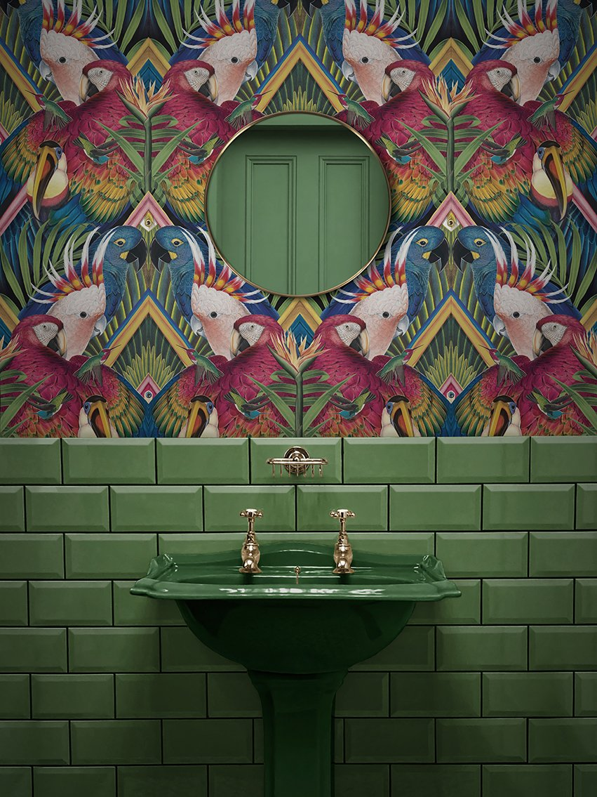 Want to add a wow-factor to your #bathroom? Contrast between tile and whimsical wallpaper could be the solution. Click the link to get more inspo hubs.ly/H0KPBQw0
