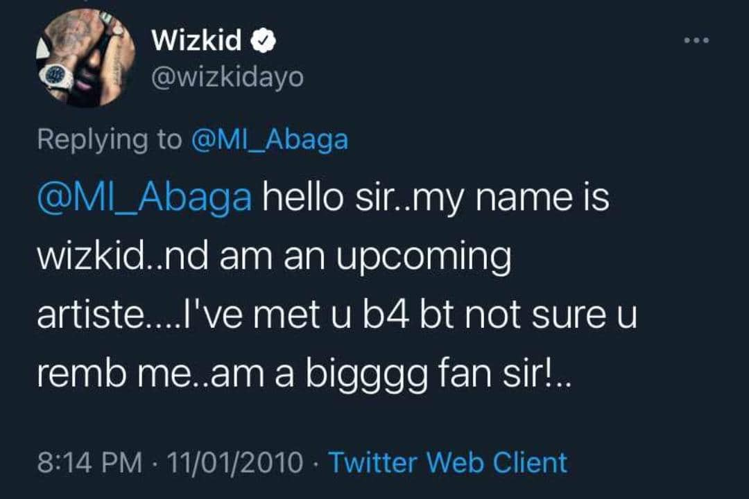 Old tweet of Wizkid begging for MI's attention 11 years ago resurfaces