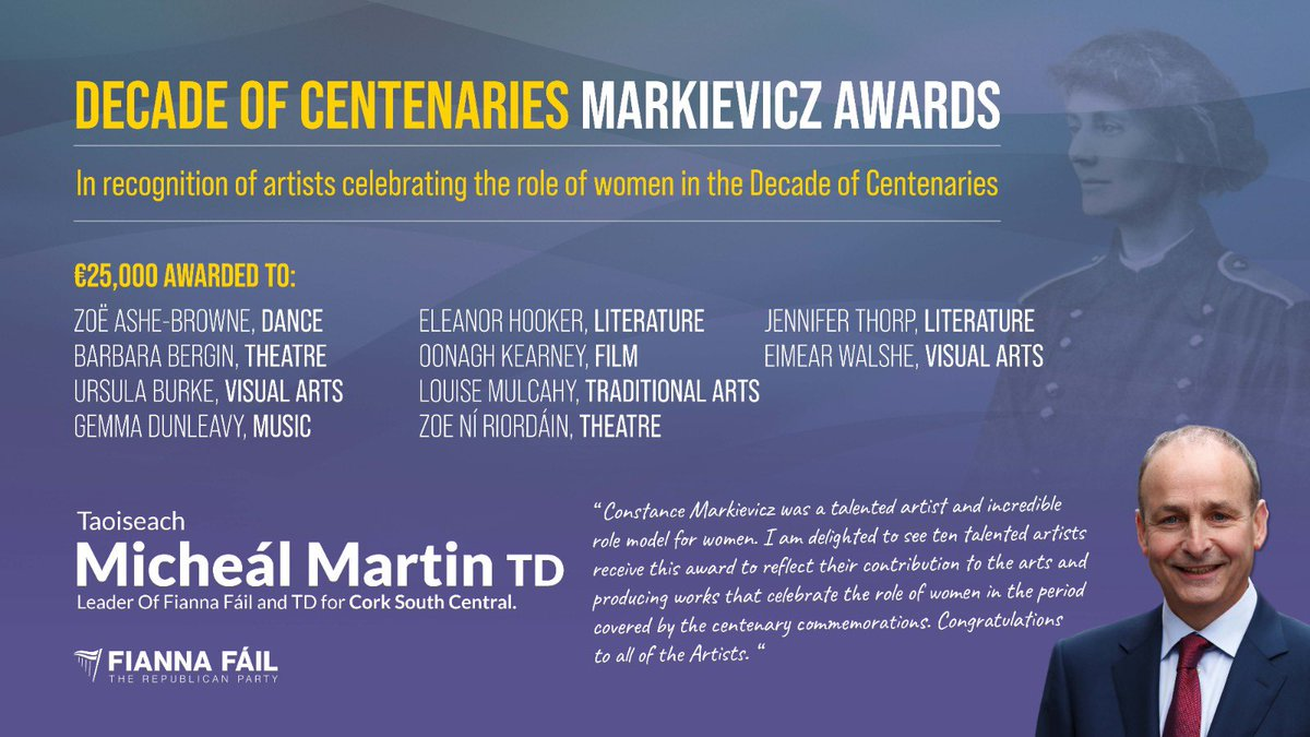 Congratulations to the ten winners of Markievicz Awards today – all talented artists producing work that reflects and celebrates the role of women in Irish life. https://t.co/ci1Ka0OUJr