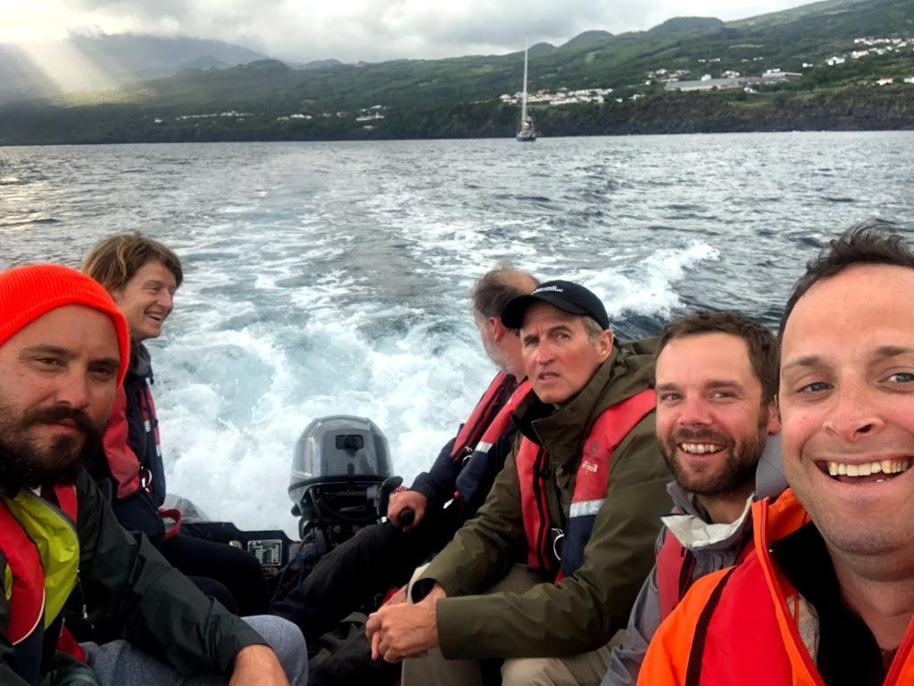 This work is also featured in Secrets of the Whales, the amazing four part series by @JimCameron on the culture of whales.  Here is a shot of the production team from @RedRockFilms and @MCRInt with @Brian_Skerry and I off the island of Pico in the #Azores. @disneyplus #EarthDay https://t.co/AsFk5lwawA