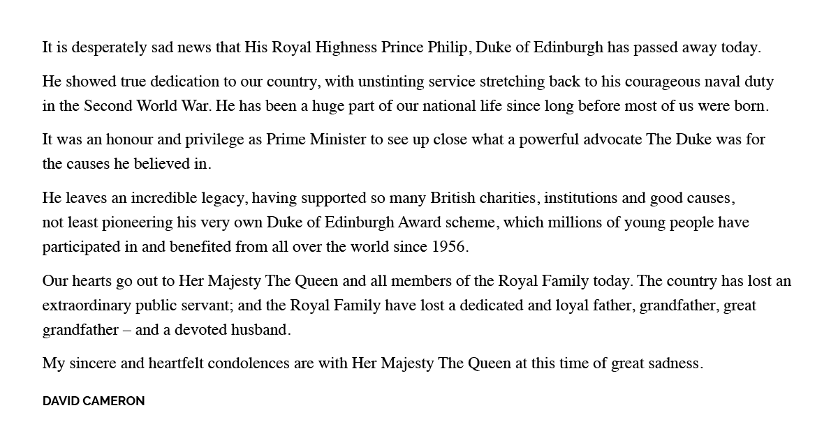 Statement from David Cameron, on the sad news that His Royal Highness The Prince Philip, Duke of Edinburgh has passed away: