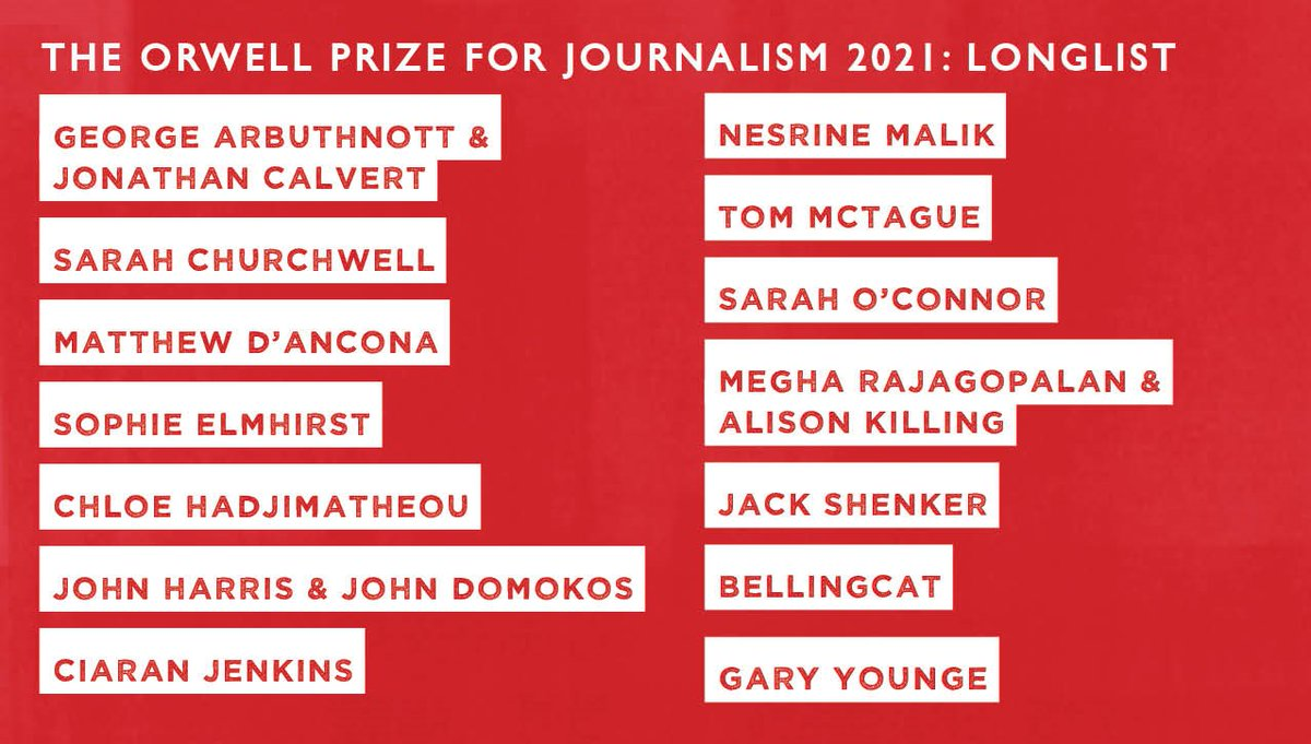 From the impact of Covid-19 to authoritarian impunity worldwide, the 2021 #orwellprize for Journalism longlist features the best commentary and collaborative reporting, all in pursuit of Orwell's ambition 'to make political writing into an art': bit.ly/longlists2021