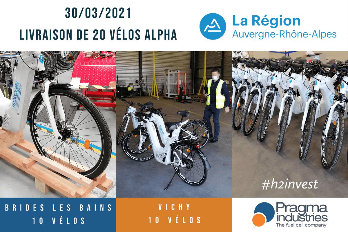 Livraison de 20 vélos à #hydrogène destinés à la location touristique 10 pour @VilleDeVichy et 10 pour Brides-les-Bains. Le projet est soutenu par la région @auvergnerhalpes 5 autres lots sont envisagés à l'horizon 2023. #h2invest #h2bike #h2now