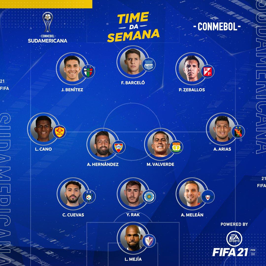 ⭐️ O Time da Semana na rodada de volta da Primeira Fase da CONMEBOL #Sudamericana ficou assim!  @EAFIFABR #FIFA21