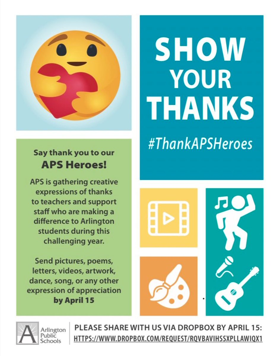 Is there a Barrett teacher or employee you'd like to thank? Make a short video, record a message, draw a picture or sing a song and APS will post them on social media to <a target='_blank' href='http://search.twitter.com/search?q=ThankAPSHeroes'><a target='_blank' href='https://twitter.com/hashtag/ThankAPSHeroes?src=hash'>#ThankAPSHeroes</a></a> Submit by Th April 15: <a target='_blank' href='https://t.co/FSATHOEbAn'>https://t.co/FSATHOEbAn</a> <a target='_blank' href='http://search.twitter.com/search?q=KWBPride'><a target='_blank' href='https://twitter.com/hashtag/KWBPride?src=hash'>#KWBPride</a></a> <a target='_blank' href='http://twitter.com/BPTAE'>@BPTAE</a> <a target='_blank' href='http://twitter.com/SohrAPS'>@SohrAPS</a> <a target='_blank' href='http://twitter.com/KWBLittman'>@KWBLittman</a> <a target='_blank' href='https://t.co/fz27Ot6GLQ'>https://t.co/fz27Ot6GLQ</a>