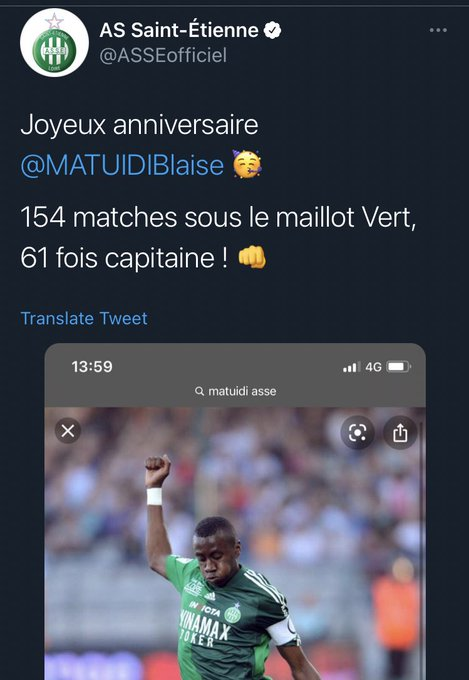 Saint-Étienne wishing ex-player Blaise Matuidi a happy 34th birthday.  If you know, you know.