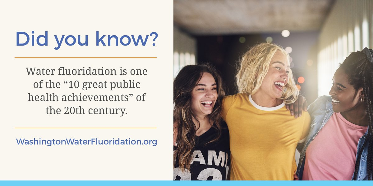 We can't celebrate National Public Health Week without mentioning one of the top public health achievements! Community water fluoridation is a cost-effective, equitable way to prevent oral disease for all: https://washingtonwaterfluoridation.org/ #NPHW