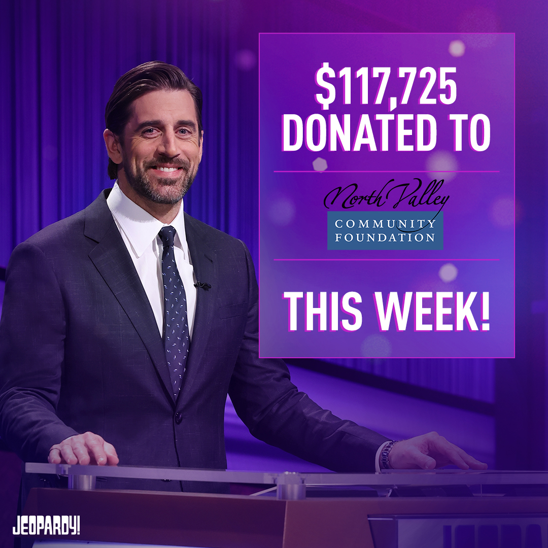 We are speechless! On behalf of the entire staff her at NVCF thank you @AaronRodgers12 and the entire team at @Jeopardy. In the first week of his hosting the TV show Aaron Rodgers has raised $117,725 for NVCF and we still have another week to go. Stay tuned!