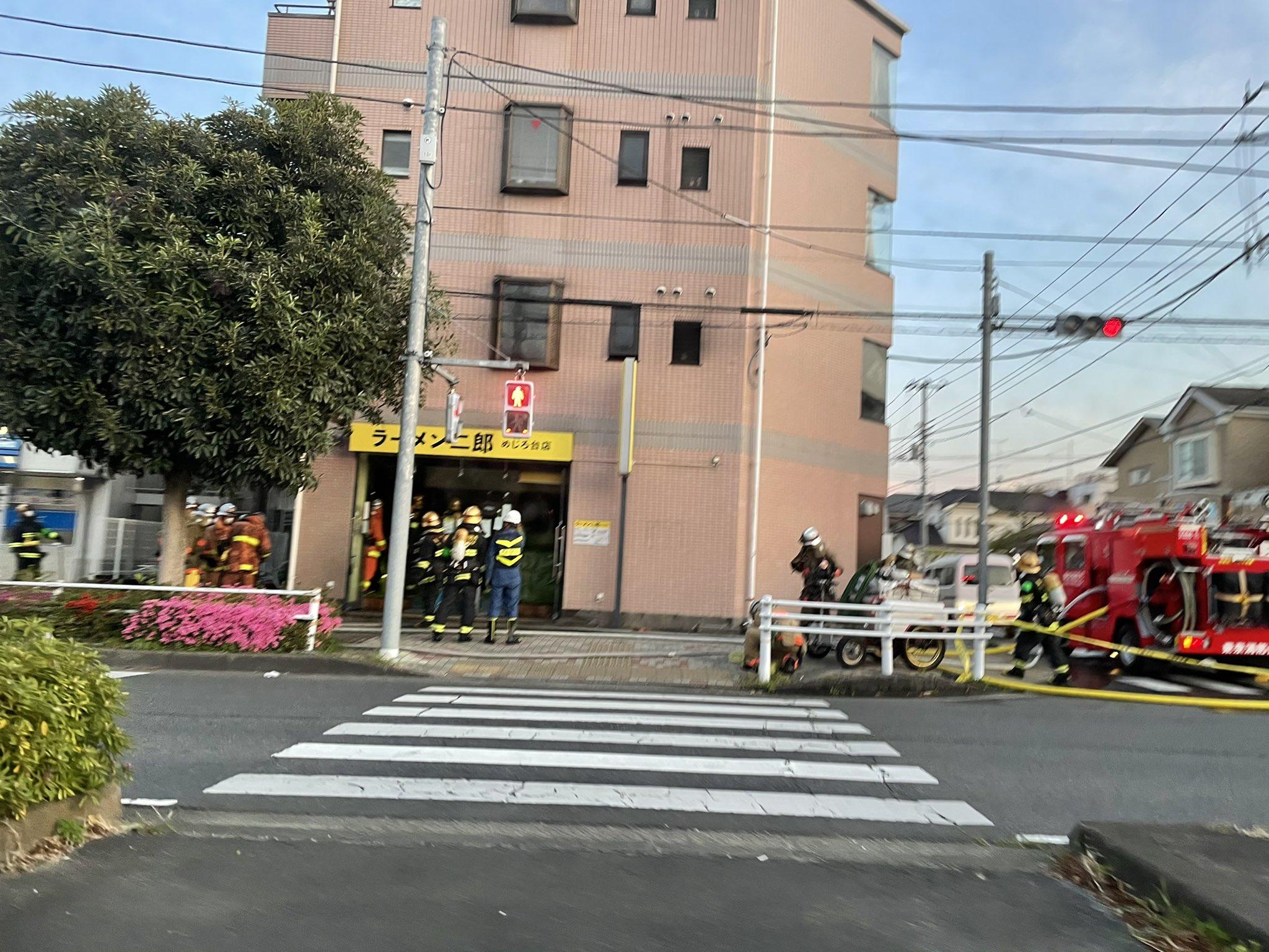 ラーメン二郎 めじろ台店の火災現場の画像