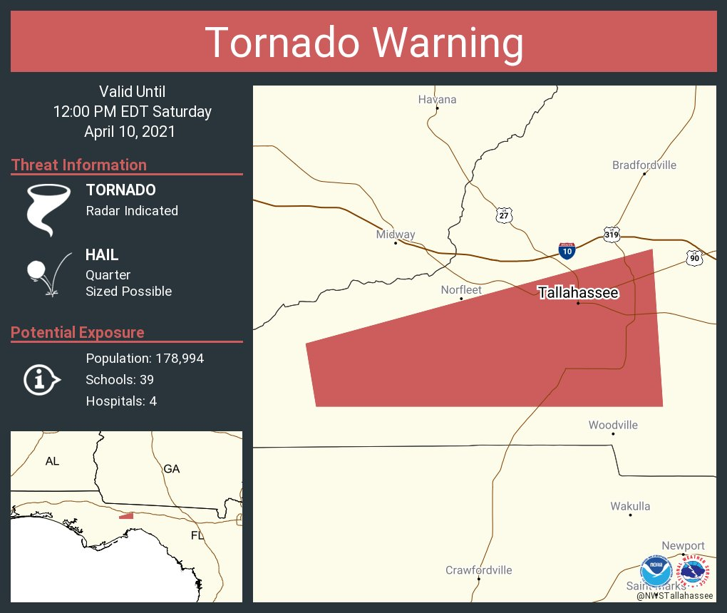 RT @NWSTallahassee: Tornado Warning including Tallahassee FL until 12:00 PM EDT https://t.co/SC1pkPDCPc