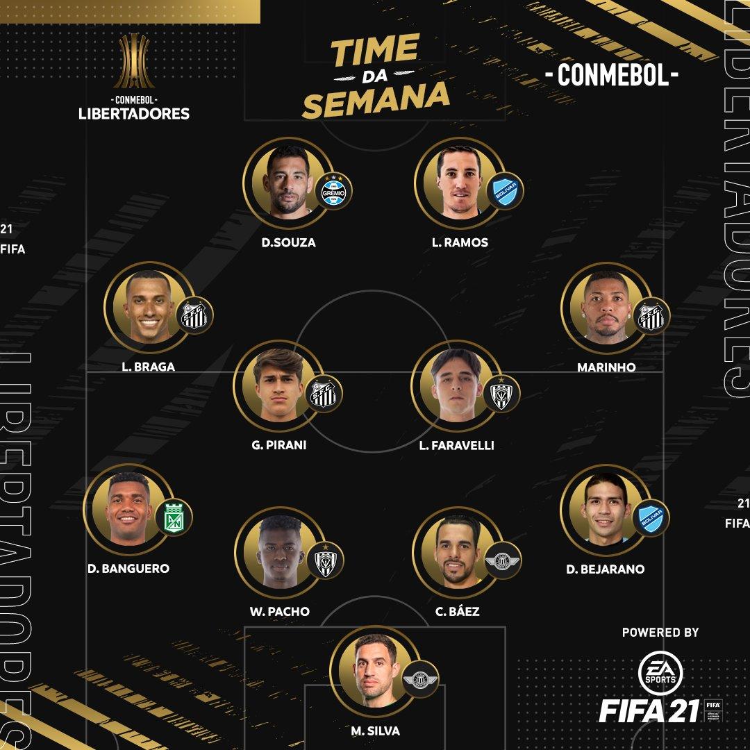 ⚽️⭐️ Deitaram! A Seleção da Semana dos jogos de ida da Fase 3 da CONMEBOL #Libertadores.   @EAFIFABR #FIFA21
