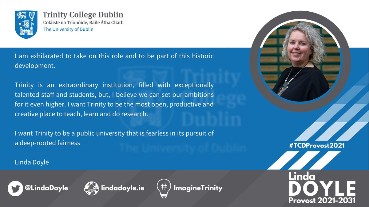 Thank you for placing your trust in me. I am honoured to be Provost-elect @tcddublin. Let's do amazing things during the next decade! #ImagineTrinity https://t.co/400Lm9h6tD