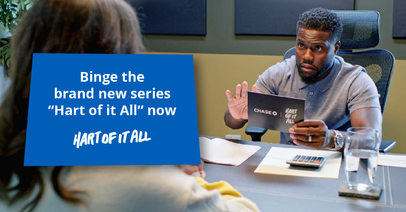 """It's time to get your money right people! Watch the all new series """"Hart Of It All"""" from @chase. @KevinHart4real  gives you all the tips and tricks you'll need to stack some serious paper. 💸  #ChasePartner 👉🏾 https://t.co/2R6B2N6Ej3 https://t.co/LwLsFRbviX"""